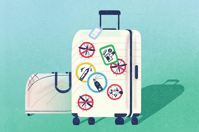 valise illustrée représentant les voyages dans le monde